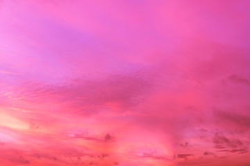 Foto auf AluDibond Rosa Sky in the pink and blue colors. effect of light pastel colored of sunset clouds cloud on the sunset sky background with a pastel color