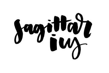 slogan Sagittarius lettering Calligraphy Brush Text horoscope Zodiac sign illustration