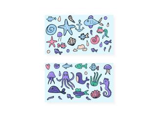 Mermaid and sea set. Vector illustration.