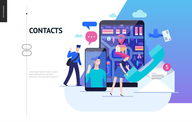 Business series, color 2 - contacts - modern flat vector illustration concept of intercommunicators. Connection ways and tools -web, phone, chat, messenger, post. Creative landing page design template