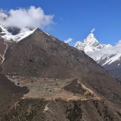 Sherpa village Phortse and peak of Mount Ama Dablam, Nepal..