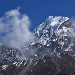 High mountain seen from a place near Machhermo, Gokyo Valley, Nepal.