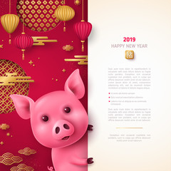 Pig with chinese elements on red