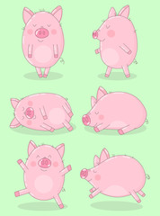 Collection of six funny pigs on a green background. Vector illustration for New Year, Christmas, prints, invitation, flyers, cards, children, clothing, decor, banners.