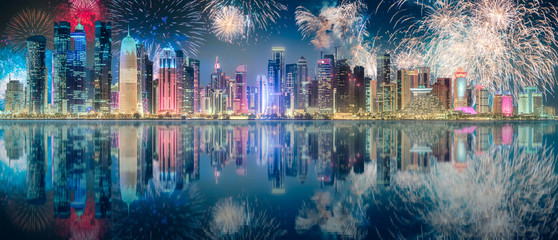 Beautiful fireworks above park in Doha City Center
