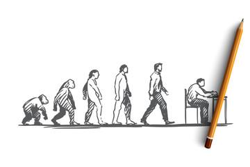 Fototapeta Evolution, businessman, programmer, primitive concept. Hand drawn isolated vector.
