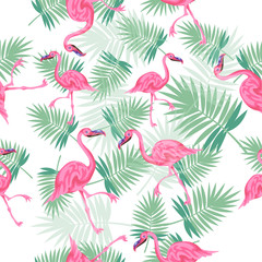 Tropical palm leaves with flamingos seamless vector pattern, exotic palms with flamingos texture for print, trendy natural hand drawn leaves for fashion textile on white background