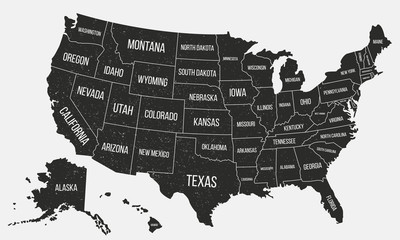 USA poster map with state names. United States of America map with grunge texture. American background. Vintage style. Vector illustration
