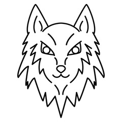 Line art wolf head. Vector illustration. Cartoon style icon logo.