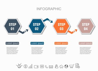 Presentation infographic creative. Statistics each year concept business data visualization. With 4 options.