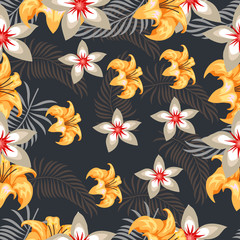 Tropical flower seamless vector pattern, fashionable tropic background for fabric textile, exotic hawaiian floral texture for print, trendy hand drawn leaves for fashion textile on black background