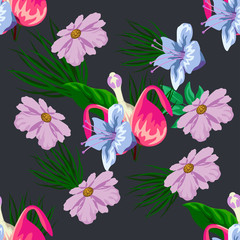 Tropical flower seamless vector pattern, floral fashionable tropic background for fabric textile, exotic hawaiian floral texture print, trendy natural hand drawn leaves for fashion textile on black
