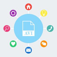 AVI file icon. Vector.