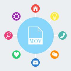 MOV file icon. Vector.