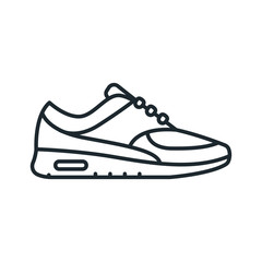 Sneaker Shoe Sport Outline Running Footwear Flat Line Stroke Icon Pictogram