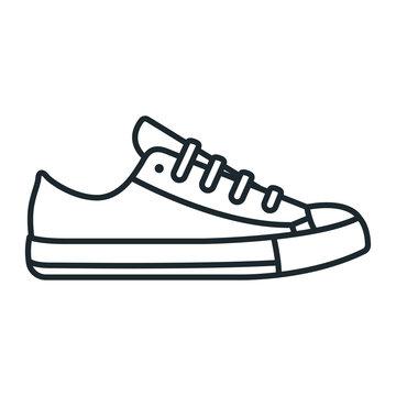 Sneaker ShoeSport Outline Running Footwear Flat Line Stroke Icon Pictogram