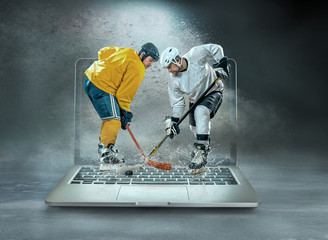 ice hockey Players in dynamic action in a professional