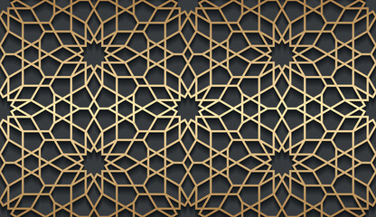 Vector islamic golden horizontal background. Seamless oriental volumetric pattern with shadow.
