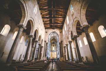 CEFALU, SICILY / ITALY - OCTOBER 5, 2018:  The Cathedral of Cefalu city in Sicily, Italy. Interior of the Cathedral.