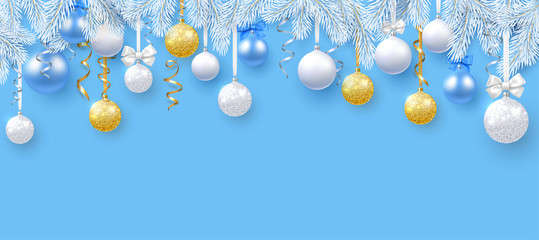 Blue Christmas and New Year poster with white fir branches and shiny Christmas balls.