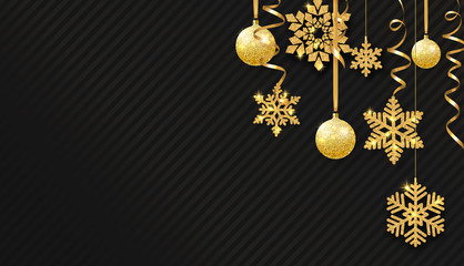 Christmas and New Year background with golden Christmas balls, snowflakes and confetti.