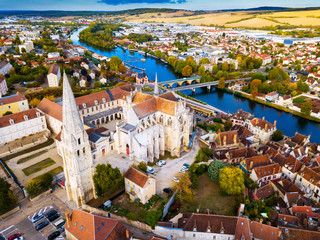 Aerial view of famous old town Auxerre with river in  France