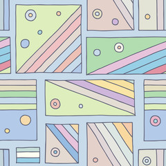 Seamless vector pattern. Colorful geometrical hand drawn background with rectangles, squares, dots. Print for background, wallpaper, packaging, wrapping, fabric.