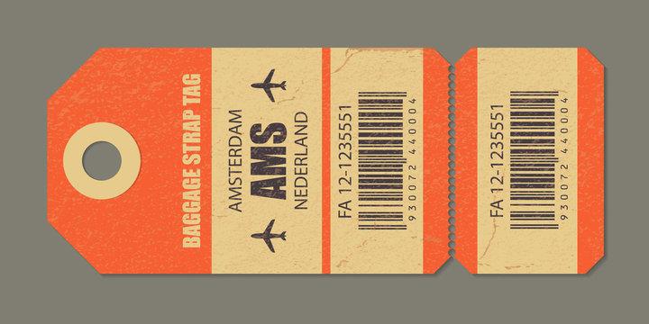 Vintage luggage tag, vintage retro travel Amsterdam nederland country label.