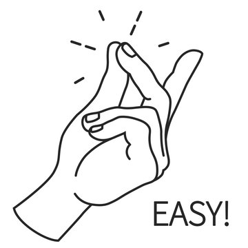 Finger Snapping Outlin, Hand Gesture. Easy Concept expression illustration.