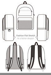 Backpack design illustration flat sketches template