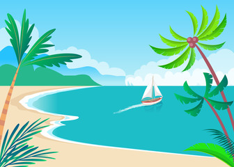 Water Transport Sailing Boat on Seaside Vector
