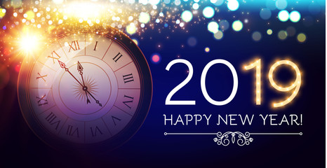 Happy Hew 2019 Year Clock, Fileworks, Lights and Bokeh Effect.