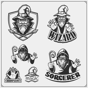 Set of wizard or magician emblems, labels and design elements. Illustrations of sorcerer with black pointed hat.