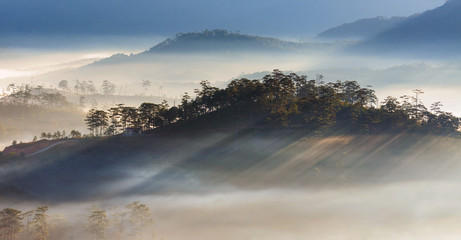 Best panorama and picture of landscape about beautiful sunshine on the small village at valley in sunrise