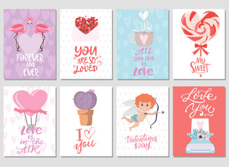 Set of cute stickers with romantic style for Valentine's Day, Save the date, wedding day, love you card. Editable vector illustration