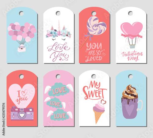 Set Of Cute Stickers With Romantic Style For Valentine S Day Save