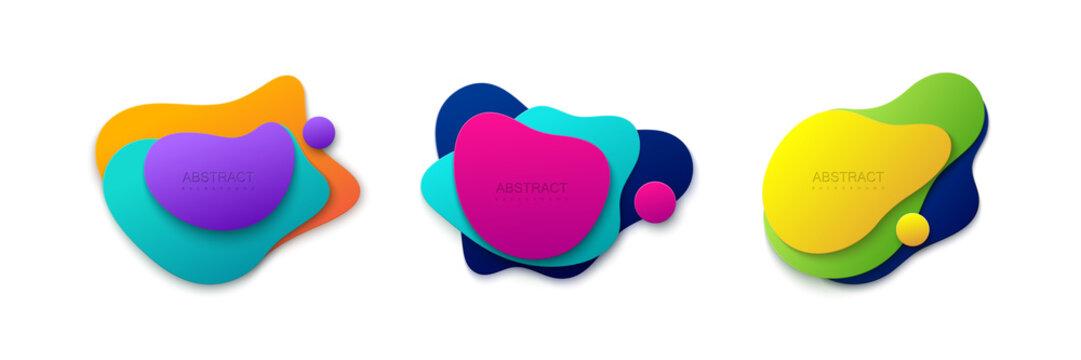 Liquid gradient colors shapes set.