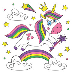 cute magical unicorn on white background - vector illustration, eps