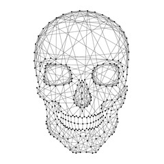 Skull human from abstract futuristic polygonal black lines and dots. Vector illustration.