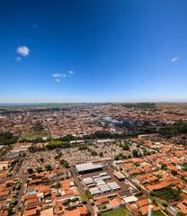 Aerial landscape city (Sao joaquin da barra - Sao Paulo - Brazil). October, 2018.