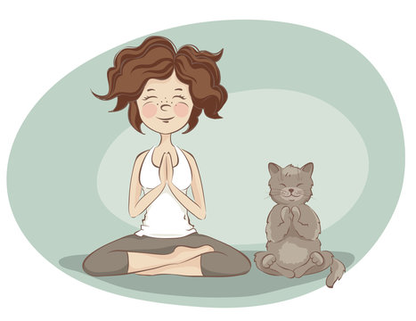 Young woman and cat  practicing yoga / Funny vector illustration on the theme of health and sport