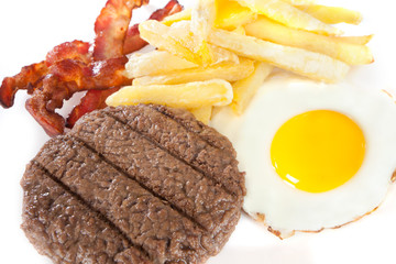 close up Junk food with high levels of calories and cholesterol
