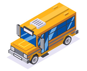 Isometric 3d retro lowpoly flat design school buss car vector illustration
