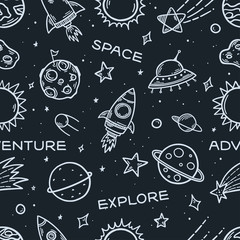 Space elements hand drawn seamless pattern. Vector illustration.