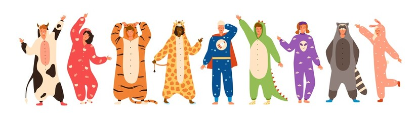 Wall Mural - Bundle of men and women dressed in onesies representing various animals and characters. Set of people wearing jumpsuits or kigurumi isolated on white background. Flat cartoon vector illustration.