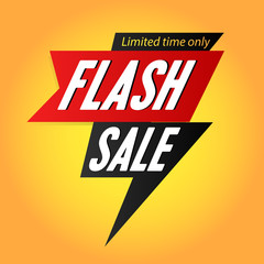 flash Sale banner template with thunder and lighting yellow. vector illustration. flyer poster for marketing and business purpose.
