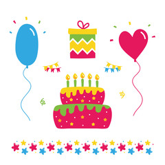 Set, collection of colorful vector birthday party design elements, balloons, gift box, birthday cake with candles and stars border.