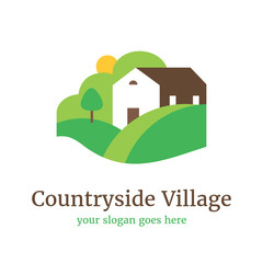 Vector logo template for country village, eco farm. Illustration of a country house with hills and a garden. Organic product label. EPS10. Rural landscape.