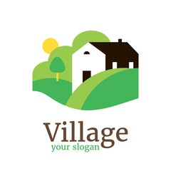 Vector logo template for country village, organic farm. Illustration of country house with hills and garden. Eco product sign. EPS10. Rural landscape.