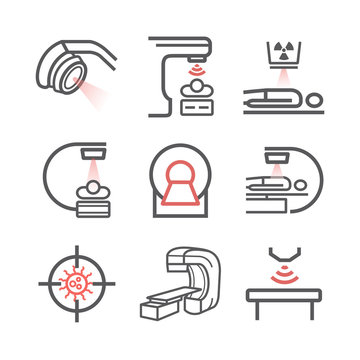 Body CT, CAT Scan. Line icons set. Radiotherapy signs. Vector symbols for web graphic.